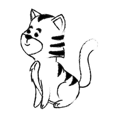 trusting: cat house pet icon image vector illustration design  black sketch line