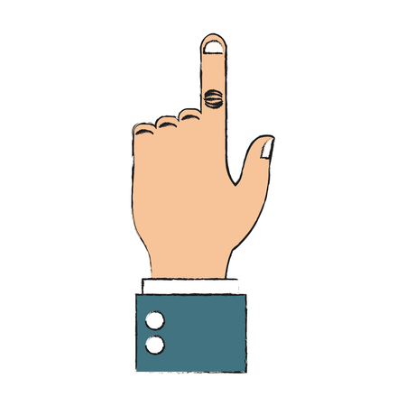 pointing with index finger hand gesture icon image vector illustration design