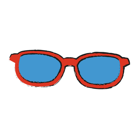 sunglasses with red frame and blue lenses icon image vector illustration design