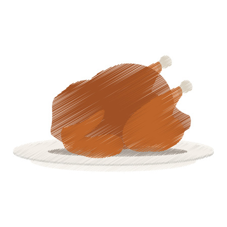 whole chicken or turkey icon image vector illustration design Illustration