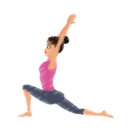 yogi: pretty woman doing yoga yogi icon image vector illustration design Illustration