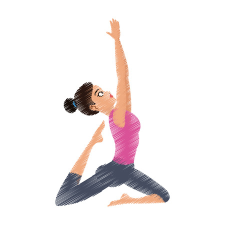 pretty woman doing yoga yogi icon image vector illustration design Illustration