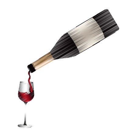 wine bottle pouring on glass  icon image vector illustration design Illustration