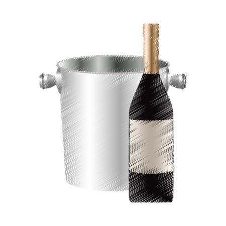 wine bottle and bucket icon image vector illustration design