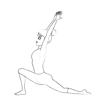 devotee: pretty woman doing yoga yogi icon image vector illustration design Illustration