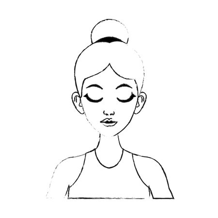face of pretty woman with hair in high bun and closed eyes  icon image vector illustration design Illustration