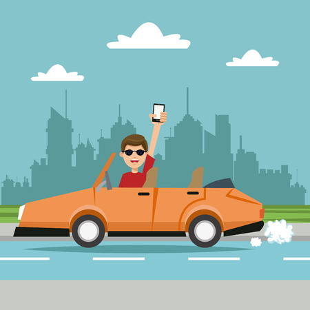 Man with cellphone sports car city illustration