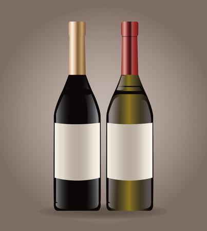 Vino bottiglia vino illustrazione vettoriale di immagine eps 10 Vettoriali