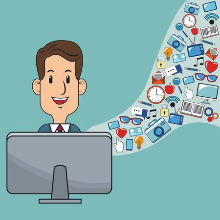 webmaster website: man digital marketing web site social network vector illustration eps 10 Illustration