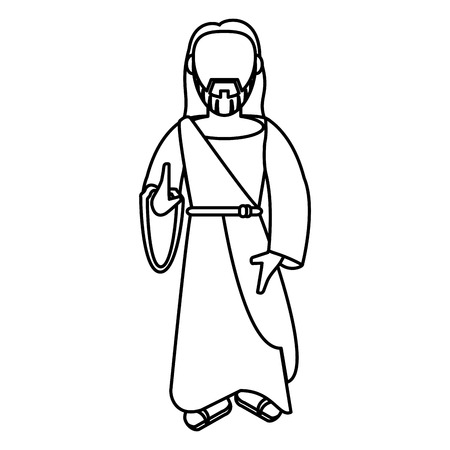 almighty: jesus christ christianity outline vector illustration eps 10