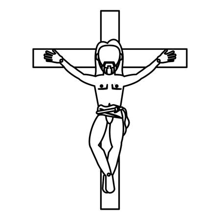 gospels: jesus christ crucifixion cross sacred outline vector illustration eps 10 Illustration