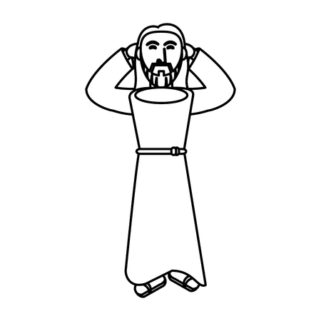 jesus christ religious catholicism outline vector illustration eps 10