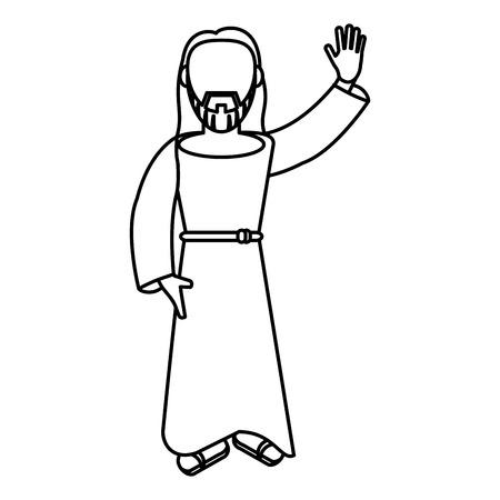 jesus christ religion catholic outline vector illustration eps 10 Illusztráció