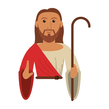 portrait jesus christ holding stick vector illustration eps 10
