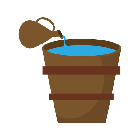 squinting: Pitcher pouring water bucket image vector illustration eps 10.