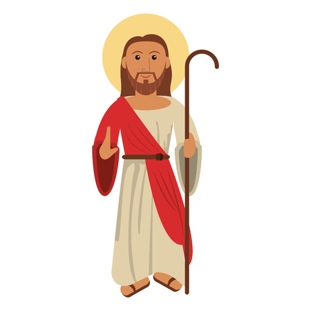 Jesus christ blessed with stick vector illustration eps 10.