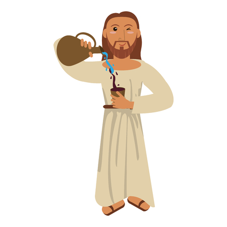 Jesus christ miracle water wine concept vector illustration eps 10.