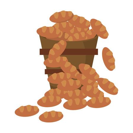 Bucket bread multiplication miracle image vector illustration eps 10.