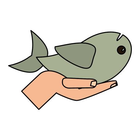 Hand holding fish religious concept vector illustration eps 10. Illustration