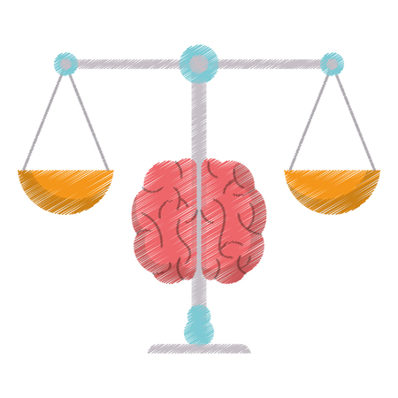 drawing brain balance idea image vector illustration eps 10