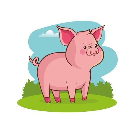 cute pig animal baby with landscape vector illustration eps 10 Illustration