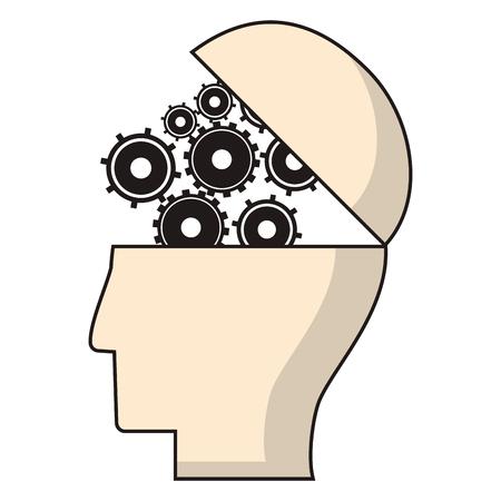 eps: head human gear wheel engineer vector illustration eps 10