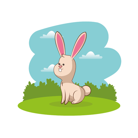 cute rabbit animal with landscape vector illustration eps 10 Illustration
