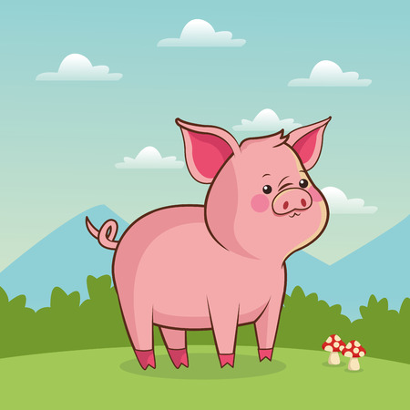 cute piggy animal baby with landscape vector illustration eps 10