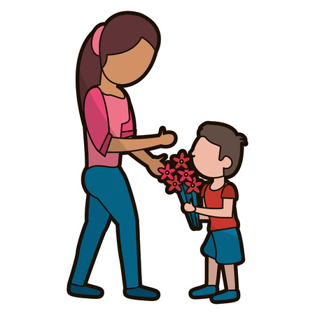 son give flowers to mother vector illustration eps 10