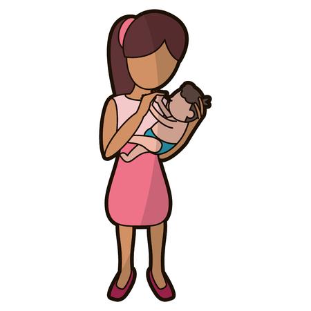 mother holding son lovely vector illustration eps 10