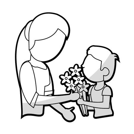 offering: son give flowers to mother vector illustration eps 10