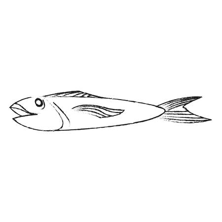 fish for eating icon image vector illustration design with black sketch line Ilustração