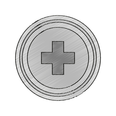 Cross inside button icon. Medical health care hospital and emergency theme. Isolated design. Vector illustration Illustration