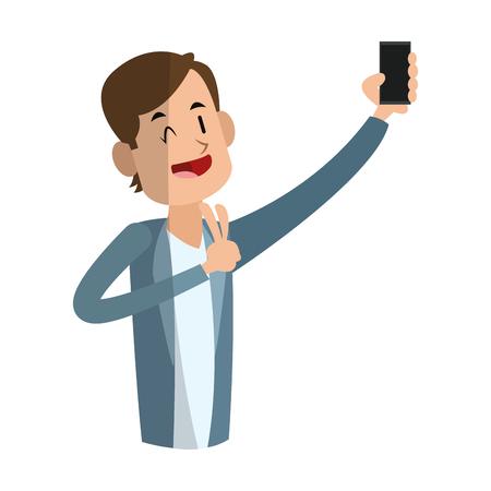 man die een selfie icoon over witte achtergrond neemt. kleurrijk ontwerp. vector illustratie