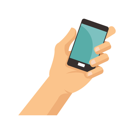 communicator: hand with smartphone device icon over white background. colorful design. vector illustration