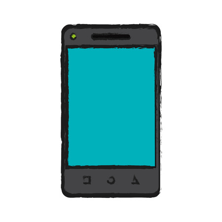 communicator: smartphone device icon over white background. vector illustration