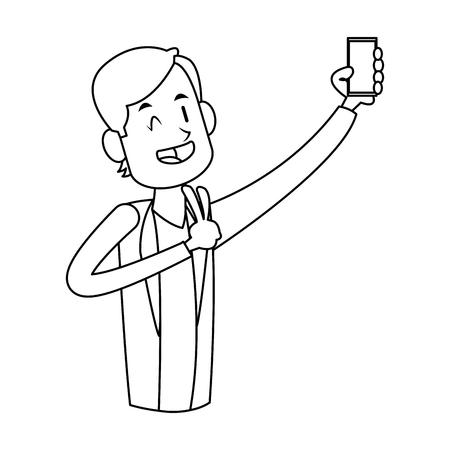 man die een selfie icoon over witte achtergrond neemt. vector illustratie