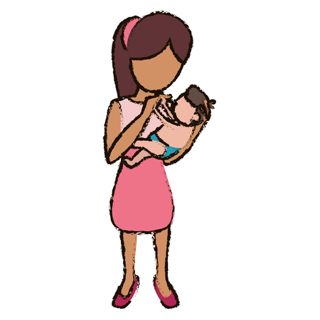 mother and son holding vector illustration