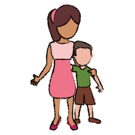 mother and son embraced vector illustration Illustration