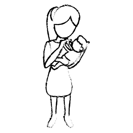 sketch mother and holding son vector illustration