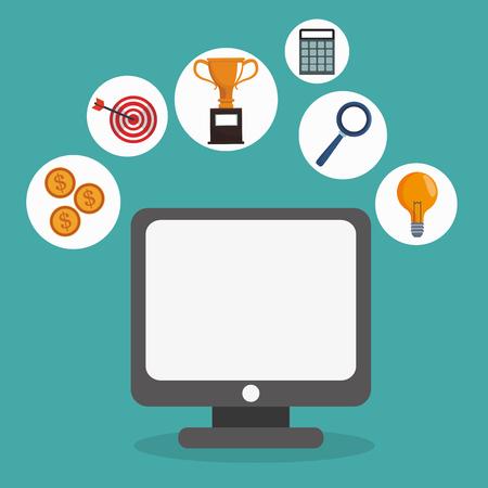 webmaster: digital marketing online remote business network vector illustration eps 10