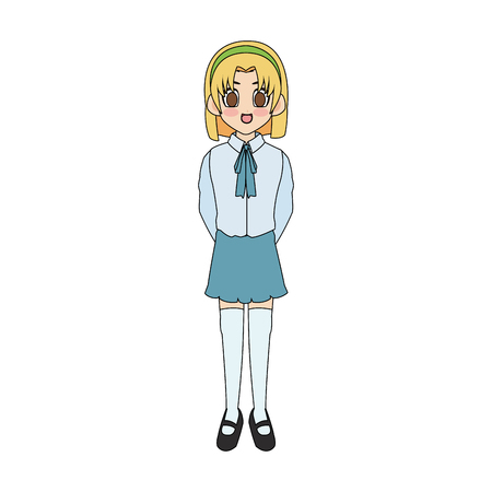 cute anime or manga school girl with blonde hair and brown eyes icon image vector illustration design