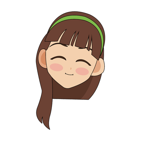 happy cute young girl icon image vector illustration design