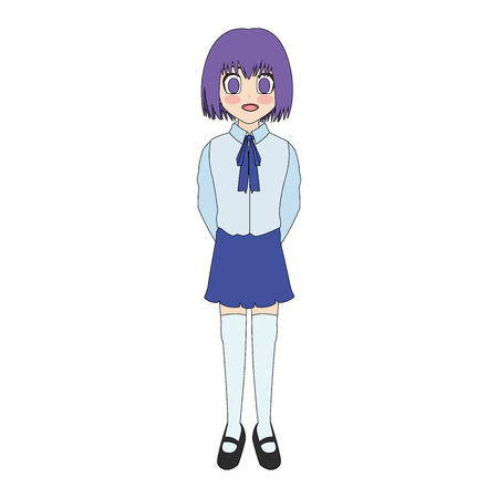 cute anime or manga school girl with purple hair and eyes icon image vector illustration design