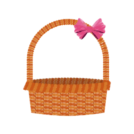 straw basket with pink bow icon image vector illustration design