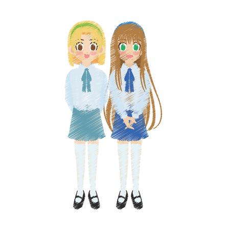 anime young: cute anime or manga school girls icon image vector illustration design Illustration