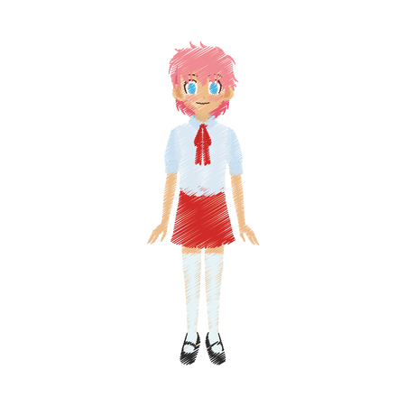 cute anime or manga school girl with pink hair and blue eyes icon image vector illustration design