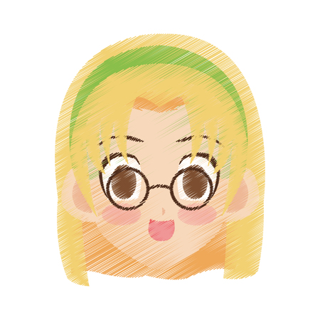 face of cute anime or manga girl with blonde hair and brown eyes  icon image vector illustration design