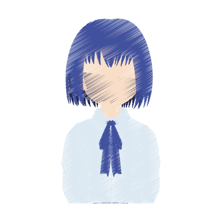 faceless young school girl with blue hair icon image vector illustration design Illustration