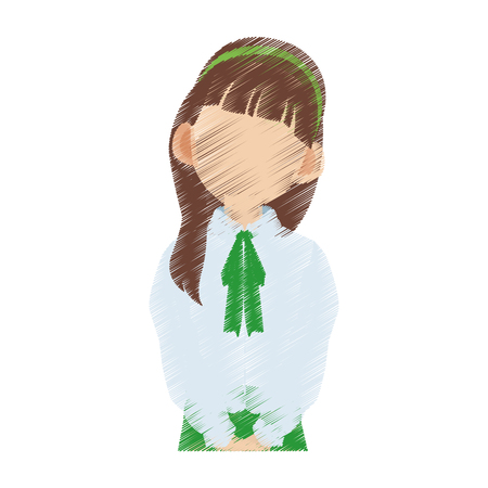 faceless young school girl icon image vector illustration design